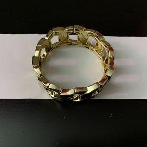 Gold Chain Link Cuff Bracelet
